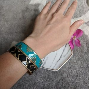 Jewelry - Teal/Black/Gold Tribal Patterned Bangels
